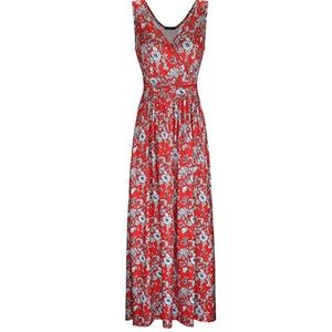 OUGES Women s V-Neck Pattern Pocket Maxi Dress b5546200b